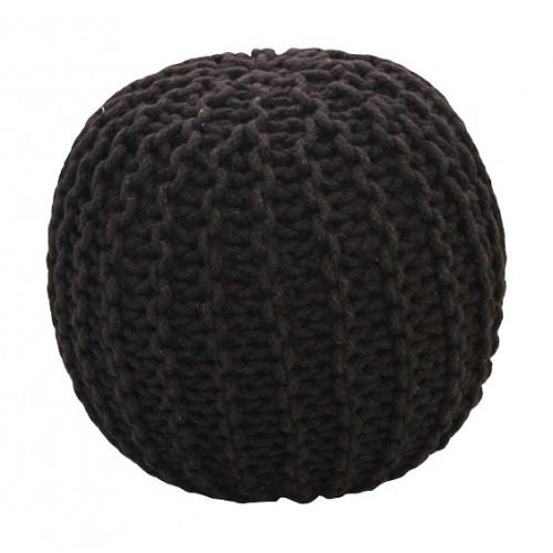 Pletený puf CRAZYSHOP SOLID, čierny (ručne pletený)
