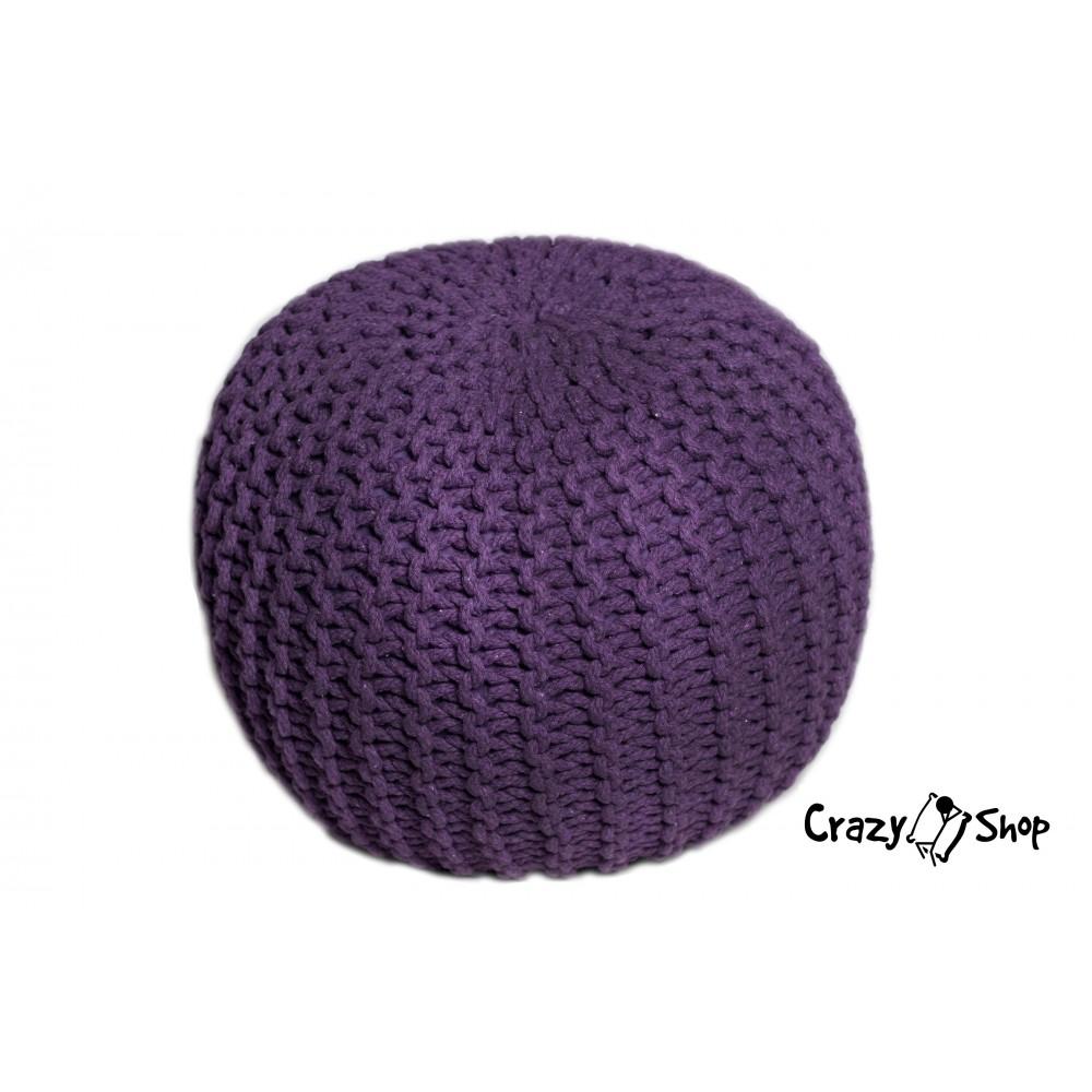 CrazyShop pletený PUF SOLID, fialová