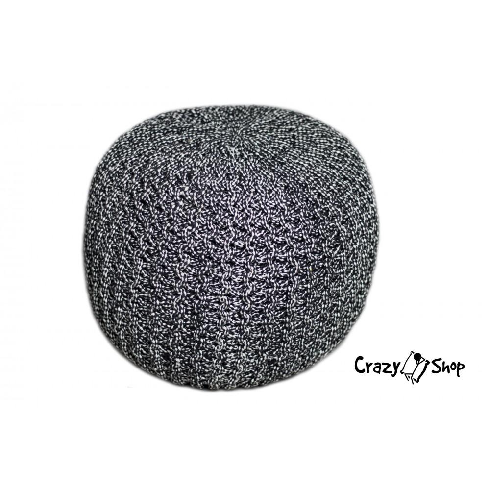 Pletený puf CRAZYSHOP TWIN, tmavo šedá-biela