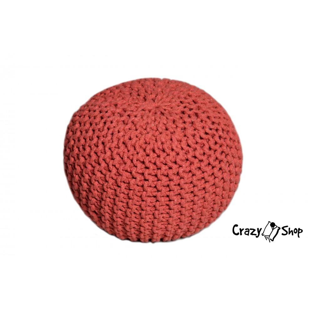 CrazyShop pletený PUF SOLID MINI, červená
