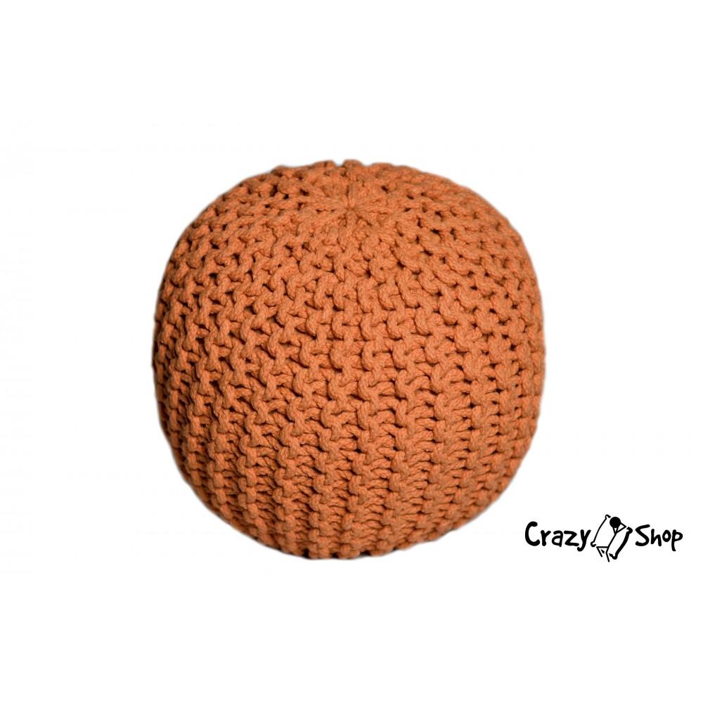 CrazyShop pletený PUF SOLID MINI, oranžová