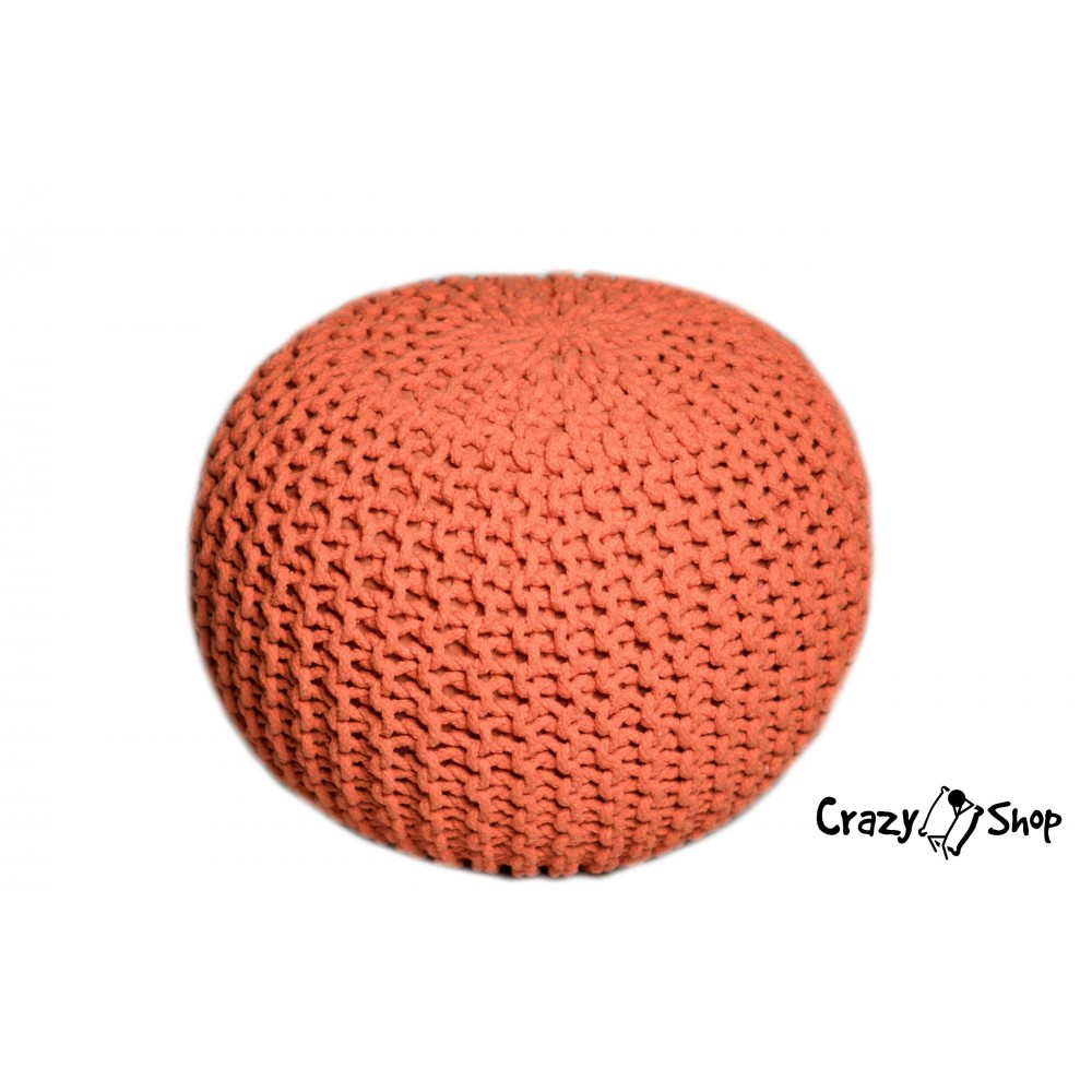 CrazyShop pletený PUF SOLID, zelená