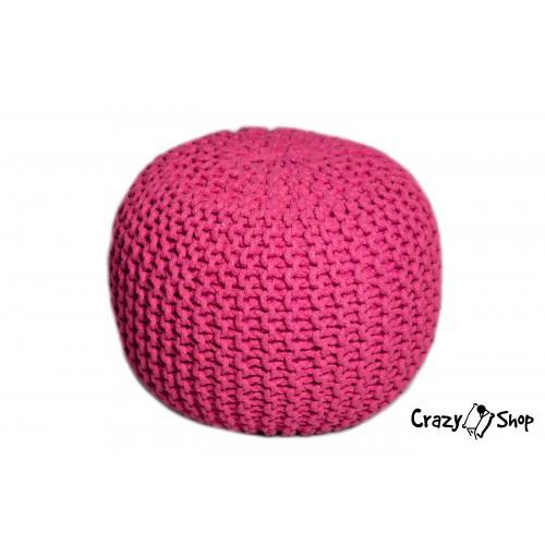 CrazyShop pletený PUF SOLID, oranžová