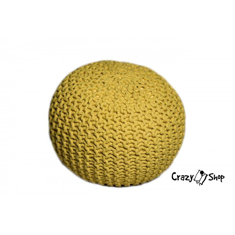 CrazyShop pletený PUF SOLID, tyrkysová