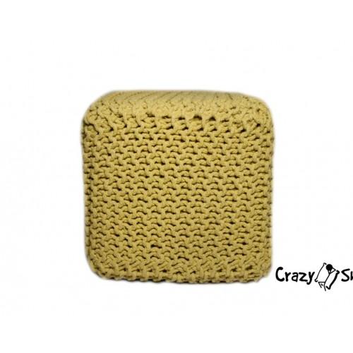 Pletený puf CRAZYSHOP CUBE, tmavo šedý (ručne pletený)