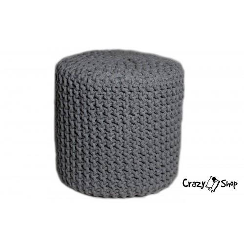 Pletený puf CRAZYSHOP CUBE, šedý (ručne pletený)