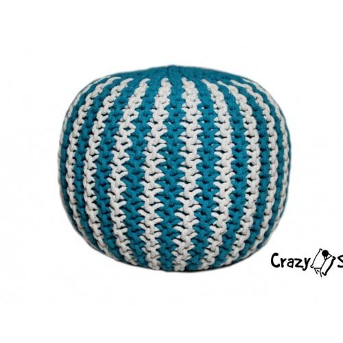 Pletený puf CRAZYSHOP TWIN, ružovo-biela (ručne pletený)