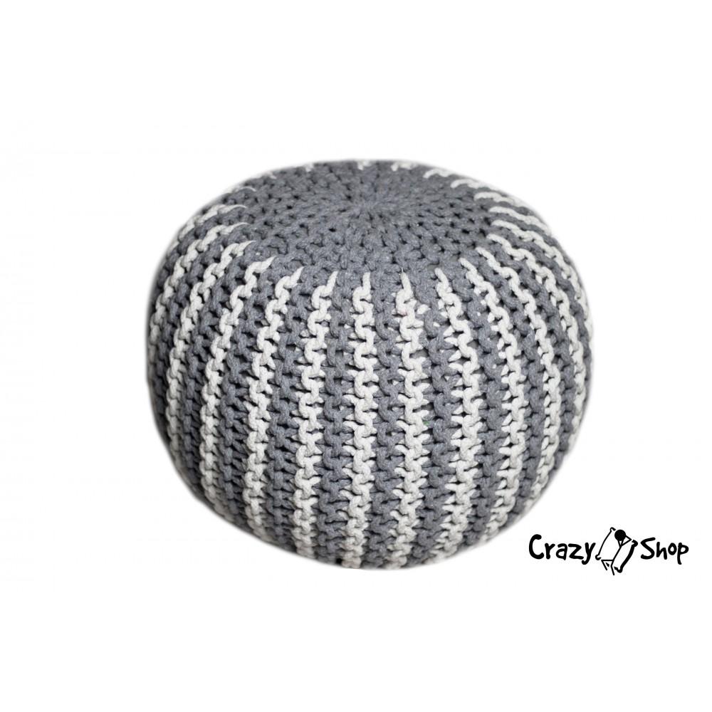 Pletený puf CRAZYSHOP TWIN, šedo-biela (ručne pletený)